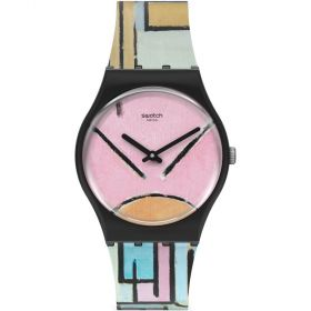 Swatch Moma Composition In Oval With Color Planes unisex karóra GZ350